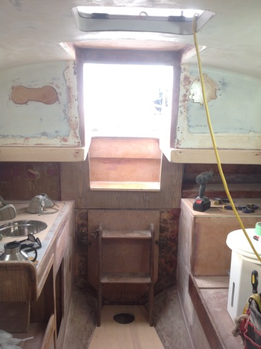 Icebox removed, Sink moved from center to starboard side