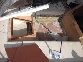 Footwell plywood heavily fiberglassed