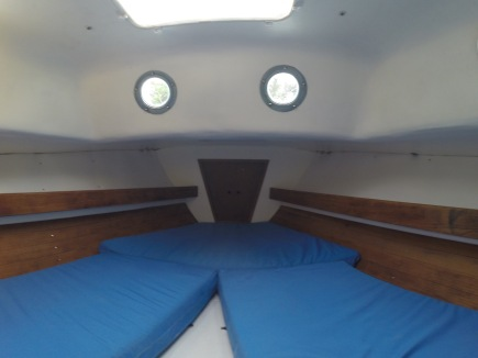 Finished v-berth cushions