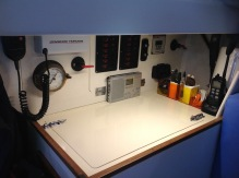 Nav Station organizers and Sony SW radio velcro-ed in place